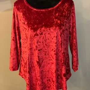 Westport 1962 Red velvet 3/4 sleeve blouse